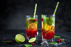 Mojito cocktail with cranberry, lime and mint. In highball glass on a grey stone background. Summer alcoholic cocktail Stock Photography