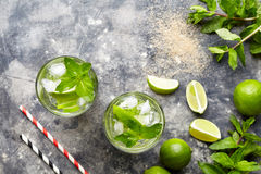Mojito cocktail Cuban alcohol drink top view copy space in highball glass, summer tropical vacation beverage with rum Royalty Free Stock Photography