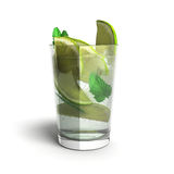 Mojito cocktail 3d render isolated on a white background. Mojito cocktail 3d render isolated on a white royalty free illustration