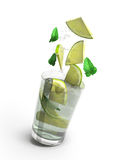 Mojito cocktail 3d render isolated on a white background. Mojito cocktail 3d render isolated on a white vector illustration