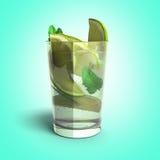 Mojito cocktail 3d renderon gradient. Image royalty free illustration