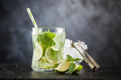 Mojito cocktail on dark background Royalty Free Stock Images