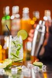 Mojito cocktail drink on bar counter Royalty Free Stock Photos