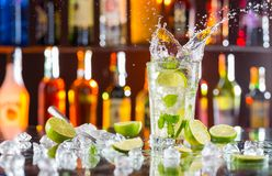 Mojito cocktail drink on bar counter Royalty Free Stock Photography