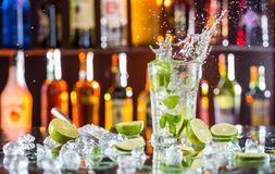 Mojito cocktail drink on bar counter royalty free stock images