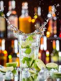 Mojito cocktail drink on bar counter Royalty Free Stock Photo