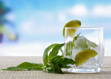 Mojito cocktail drink. Glasses with lime  ice, and Stock Image