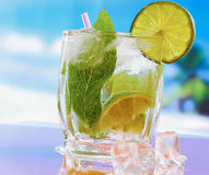 Mojito cocktail drink. Glasses with lime , ice, Royalty Free Stock Images