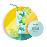 Mojito cocktail drink recipe design in flat art Royalty Free Stock Photos