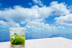 Mojito cocktail drink in summer blue calm sea Stock Photo