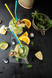 Mojito cocktail of fresh lime and mint with ice Stock Photography