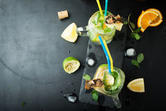 Mojito cocktail of fresh lime and mint with ice Stock Images