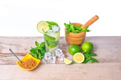 Mojito cocktail with fresh lime, mint leaves and ice cubes. Mojito cocktail Ingredients. Mojito cocktail with fresh lime, mint leaves and ice cubes in a Royalty Free Stock Photo