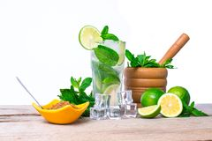 Mojito cocktail with fresh lime, mint leaves and ice cubes. Mojito cocktail Ingredients. Mojito cocktail with fresh lime, mint leaves and ice cubes in a Royalty Free Stock Images