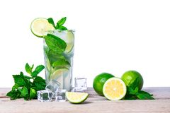 Mojito cocktail with fresh lime, mint leaves and ice cubes in a transparent glass Royalty Free Stock Images