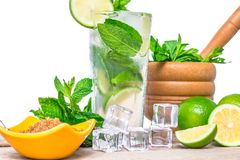 Mojito cocktail with fresh lime, mint leaves and ice cubes in a transparent glass Royalty Free Stock Photos