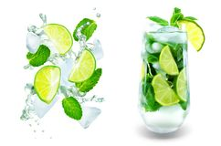 Mojito cocktail with fresh mint leaves and lime slice isolated royalty free stock images