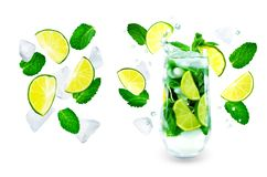 Mojito cocktail with fresh mint leaves and lime slice isolated stock image