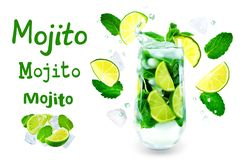 Mojito cocktail with fresh mint leaves and lime slice isolated royalty free stock photos