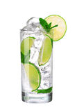 Mojito cocktail in glass isolated on white Royalty Free Stock Photos
