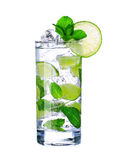Mojito cocktail in glass isolated on white Stock Images