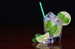 Mojito cocktail in glass with mint over black Royalty Free Stock Photos