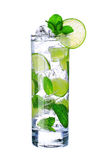 Mojito cocktail in glass on white Stock Photos