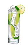 Mojito cocktail in glass on white Royalty Free Stock Photos