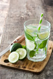 Mojito cocktail in glass on wood Royalty Free Stock Photo