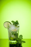 Mojito cocktail on green background stock photo