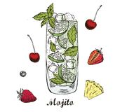 Mojito cocktail hand drawn. Doodle sketch royalty free illustration