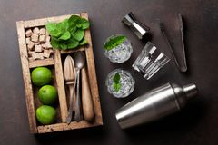 Mojito cocktail ingredients box. Mojito cocktail ingredients and bar accessories box. Top view Stock Images