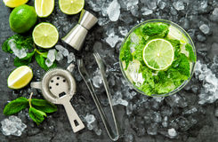 Mojito cocktail ingredients lime mint leaves ice Stock Image