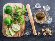 Mojito cocktail ingredients. Top view Stock Images