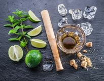 Mojito cocktail ingredients. Royalty Free Stock Photos