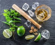 Mojito cocktail ingredients. Top view Stock Image