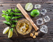 Mojito cocktail ingredients. Top view Royalty Free Stock Photography