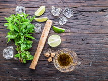 Mojito cocktail ingredients. Top view Stock Photo