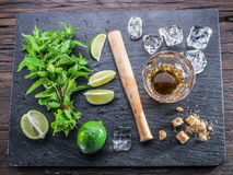 Mojito cocktail ingredients. Top view Stock Photos