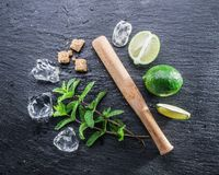 Mojito cocktail ingredients. Top view Royalty Free Stock Photo