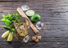Mojito cocktail ingredients. Top view Royalty Free Stock Images