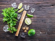 Mojito cocktail ingredients. Top view stock photography