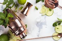 Mojito cocktail ingredients on white stone table. Mojito cocktail ingredients. Making mojito concept. Mint, lime, ice and bar tools. Copy space stock photography