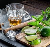 Mojito cocktail ingredients. On a wooden table Stock Images