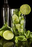 Mojito and lime cocktail Royalty Free Stock Images