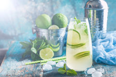 Mojito cocktail with lime and mint Royalty Free Stock Photo