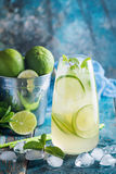Mojito cocktail with lime and mint Royalty Free Stock Photography