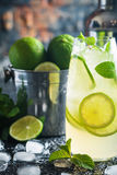 Mojito cocktail with lime and mint Stock Photography