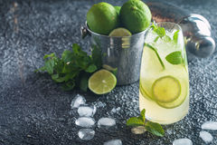 Mojito cocktail with lime and mint Stock Image
