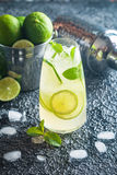 Mojito cocktail with lime and mint Stock Images